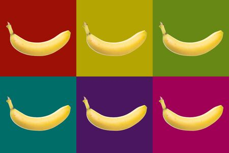 popart with six bananas on different colored background, wallpaper