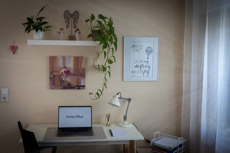 desk with laptop and chair in front, shelves with plants and on the right a window with a white curtain, home office, indoors, sunbeams