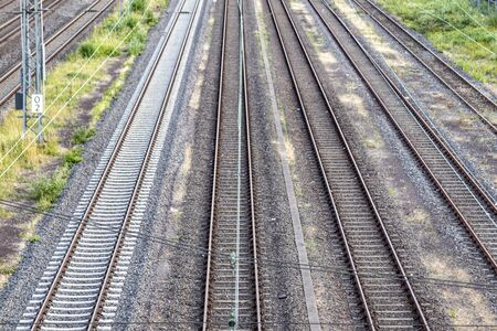several tracks of german railway, view from above, outdoors Stock Photo