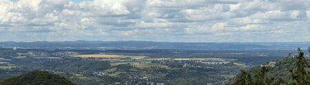 view on rhine river from loewenburg , nearby Bonn, panorama Stock Photo