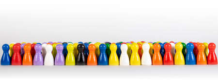 wooden figurines in several colors, panorama