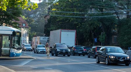 Zurich, Switzerland - August 12th 2020: Traffic jam at Rosengartenstrasse 에디토리얼