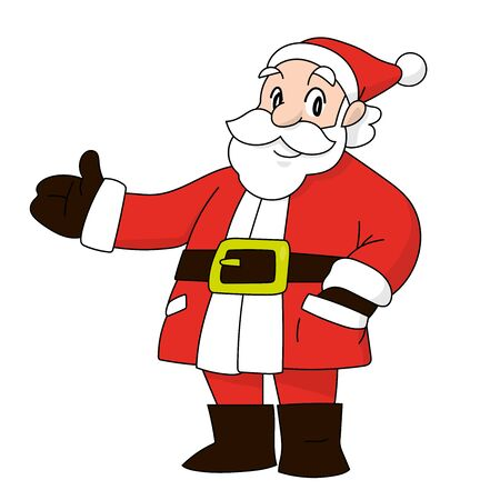 A vector cartoon of Santa Claus standing, showing something with a smile.