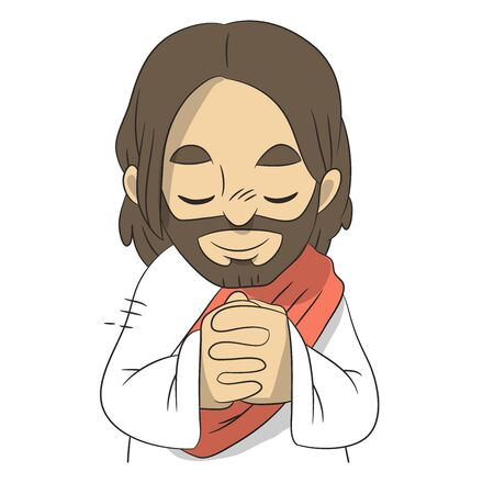 A lovely vector cartoon of Jesus closing his eyes and praying with happiness in a white robe. Christian illustration.