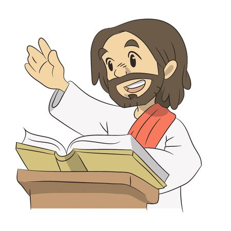 A lovely cartoon of Jesus teaching and reading from the scripture with a sile on his face. Christian illustration.