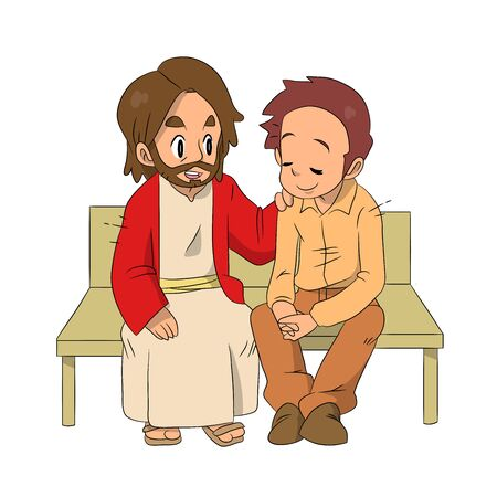 A lovely vector cartoon of Jesus sitting and talking to a man with love and care. Christian illustration.