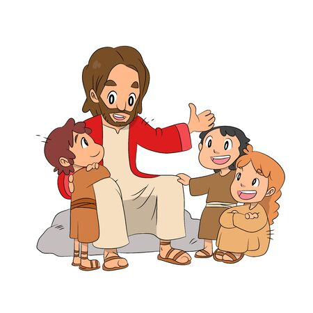A lovely vector cartoon of Jesus sitting and telling a story to little children about God with love. Christian illustration.