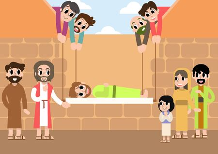 A lovely cartoon vector of a paralytic man in a mat, who was carried by 4 friends, being healed by Jesus at a house where the ceiling was dug.