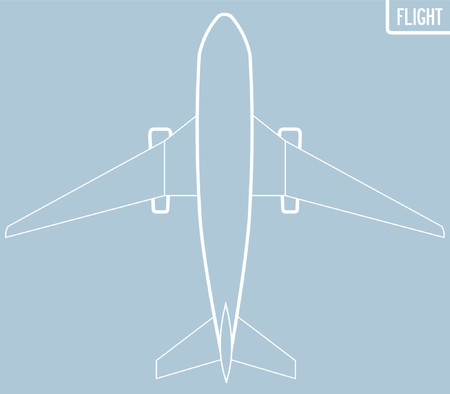 A graphic drawing of a boeing from a vertical view.