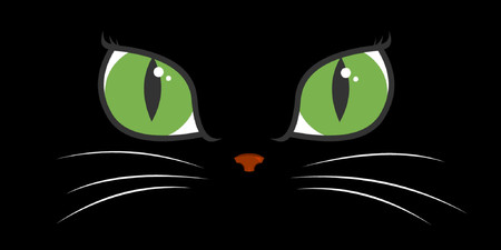 looking straight: A black cat with big green eyes.