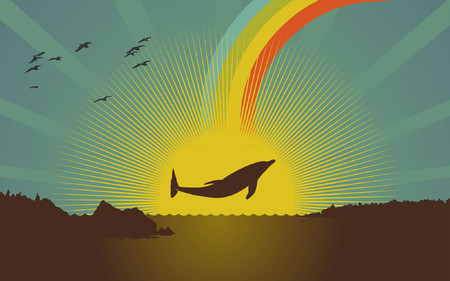 A dolphin jumping out of the water. Vector