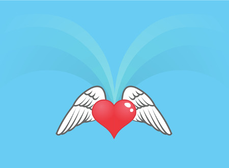 A shiny heart with wings.
