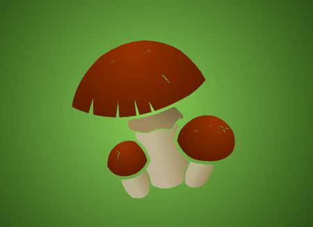 A cluster of red capped mushrooms. Illustration