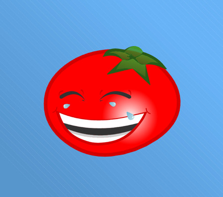 grafix: A laughing red tomato with tears coming out of his eyes.