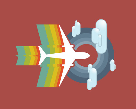 An airplane flying with a rainbow trail.