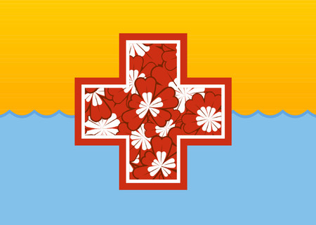 grafix: A first aid red cross design. Illustration