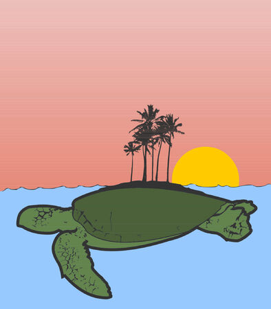 An island on the back of a sea turtle. Illustration
