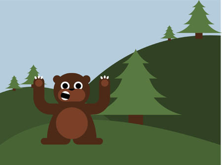A brown bear growling in the forest.