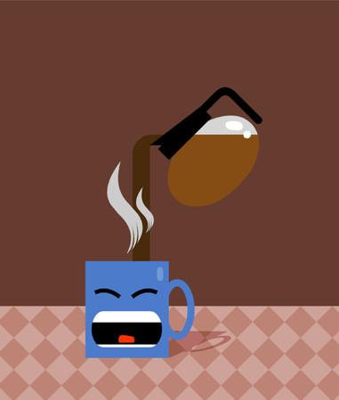 A blue mug having coffee poured into it.