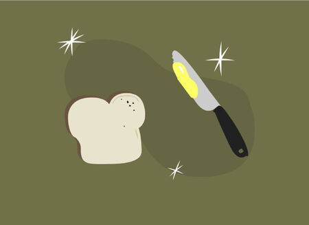 A piece of sliced bread and a knife with butter. Stock Vector - 734357