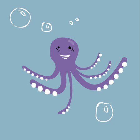 A purple octopus with tentacles swimming.