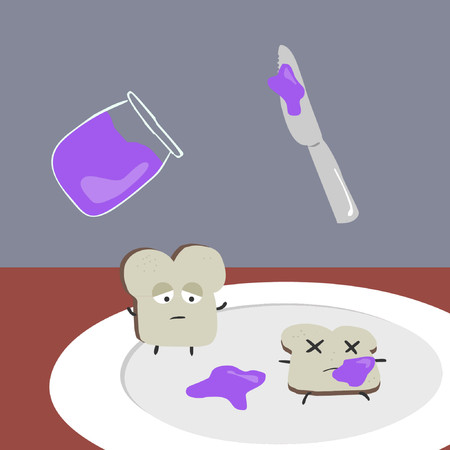 A piece of sad bread next to a piece of dead bread.