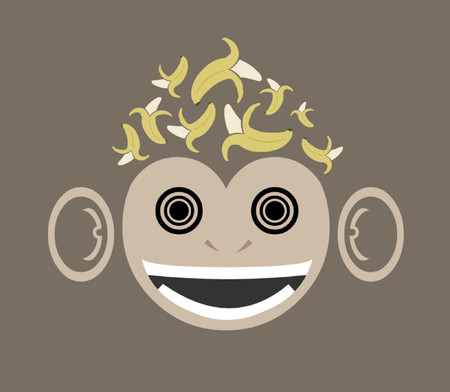 A monkey graphic with a little excess of bananas.