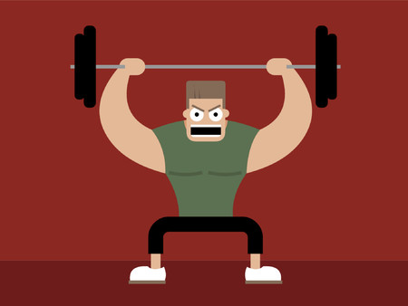A blocky jock lifting weights and squatting. Illustration