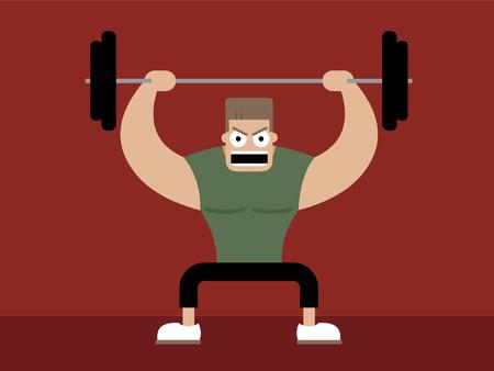 hombre levantando pesas: Un bloque jock y el levantamiento de pesas en cuclillas.  Vectores