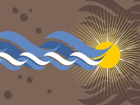 대양의: An oceanic background with bubbles and a sun.