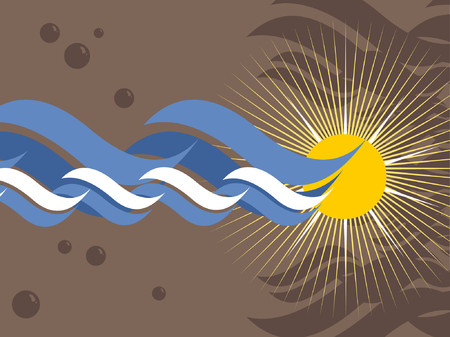 An oceanic background with bubbles and a sun.