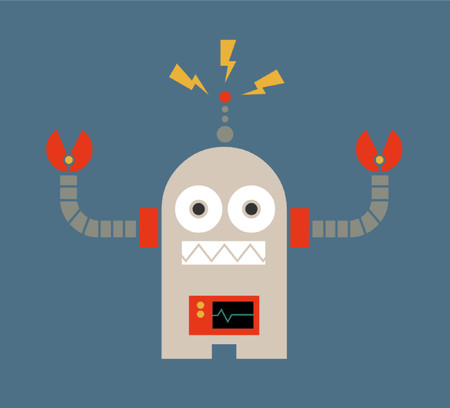 A graphic vector robot with electricity at his beacon.