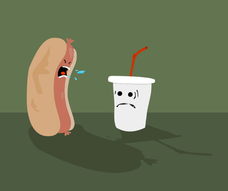 A hot dog yelling at a drinking cup.