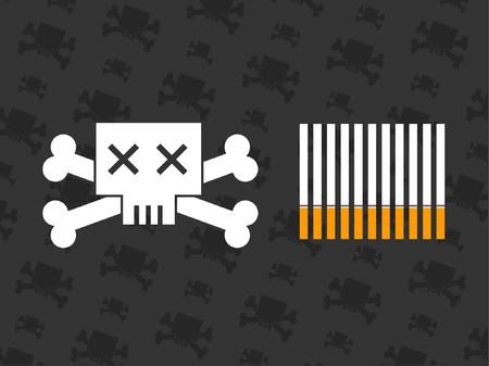 grafix: A skull and crossbones next to some cigarettes