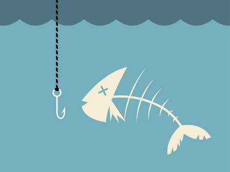 A dead fish in the water ready to be caught.   Stock Vector - 777045