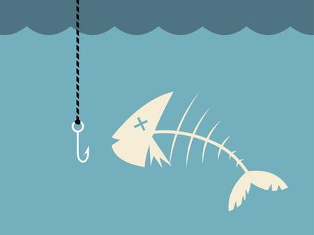 Un poisson mort dans l'eau prête à être capturé. Banque d'images - 777045