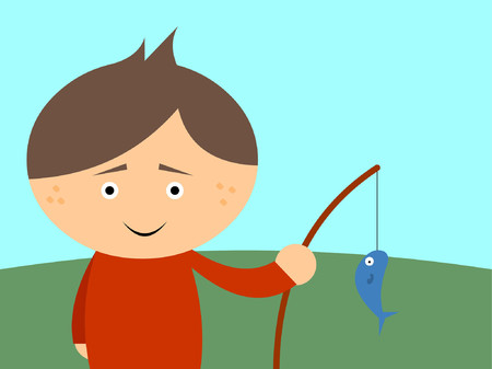 A boy holding his fishing pole with a fish he caught. Ilustração