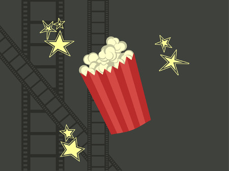 Popcorn with stars and film strips surrounding.