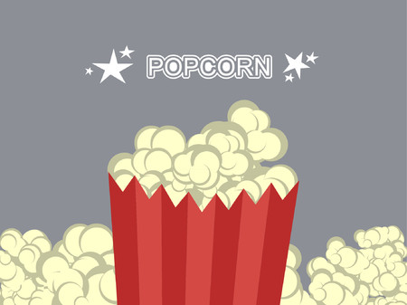 Popcorn in a striped bag surrounding by more popcorn. Illustration