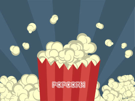 Popcorn in a striped bag surrounding by more popcorn. Illusztráció