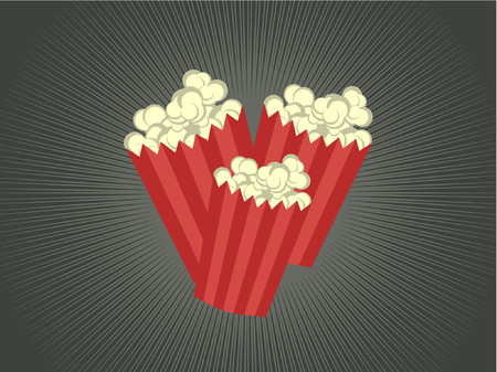 Three bags of popcorn filled in striped bags. Illustration
