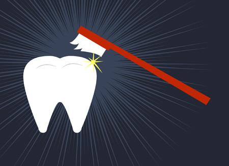 A tooth being cleaned by a toothbrush. Illustration