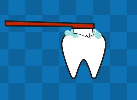 grafix: A tooth being cleaned by a toothbrush. Illustration