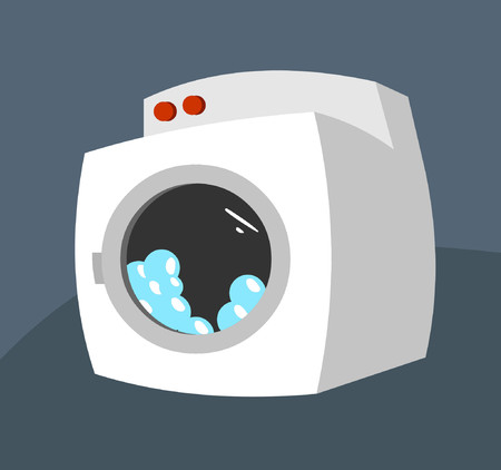 A washing machine with soap suds inside. Illustration