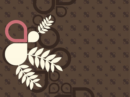 bg: An abstract vector design of various shapes and plants. Illustration