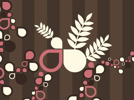 An abstract vector design of various shapes and plants. Illustration