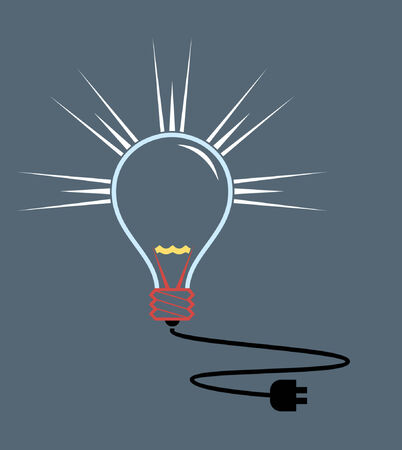 A vector illustration of a light bulb with an electric cable. Vector