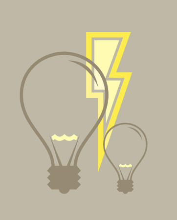 A vector illustration of two light bulbs and some electricity. Vector