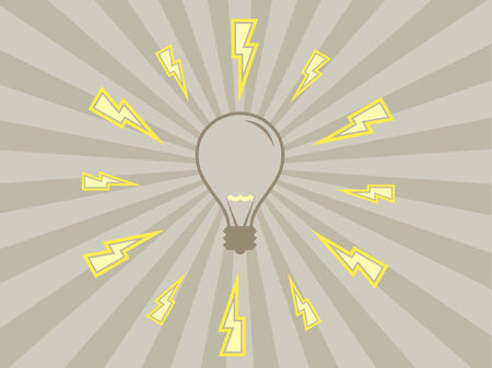 A vector design using some electricity and a light bulb. Vector