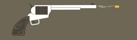A western revolver gun shooting a bullet.   Vector